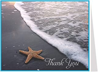 Thank You Cards, Starfish Beach, Tan, White, Blue, Orange, Ocean Water, Nautical, Tropical, Beach Thank You Cards, Set of 50 Folding Notes with Envelopes