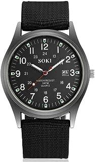 Riforla Mens Watch, SOKI Fashion 2019 New Woven Nylon Belt Men's Calendar Watch
