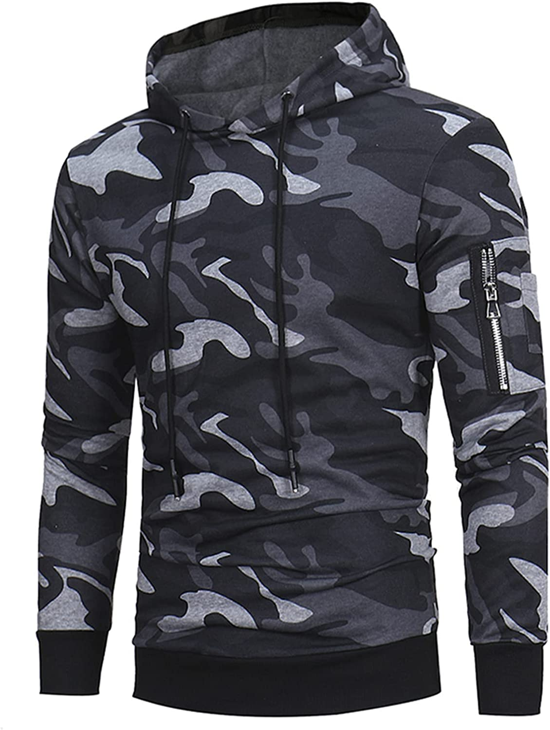 XXBR Camo Hoodies for Mens, Fall Camouflage Ribbed Cuff Drawstring Casual Hooded Sweatshirts Workout Fitness Pullover