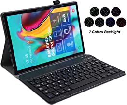 for Samsung Galaxy Tab S6 Lite 10.4 inch 2020 Keyboard Leather Case, 7 Color Backlit Slim PU Case Wireless Bluetooth Stand Removable Keyboard Shell Cover for P610 P615 SM-P610 SM-P615 (Black)