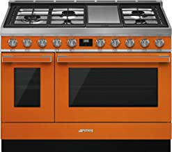 Smeg Portofino Pro-Style Aesthetic Series 48-Inch Freestanding Dual Fuel Range (Orange)