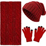 3 Pieces Winter Knit Beanie Hat Warm Scarf and Touch Screen Gloves Set Unisex (Red, Dark Red)