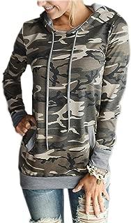 Women Floral Print Pullover Hoodie Casual Long Sleeve Drawstring Hooded Sweatshirt Pocket