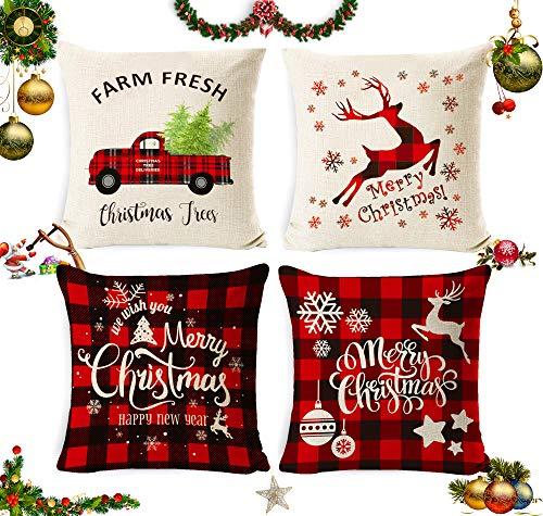 Sunshine smile 4 Stück Kissenbezug Weihnachten,Weihnachtskissenbezug,Kissenbezug Frohe Weihnachten,Wohnkultur Leinen Dekokissen,Weihnachten Kissenbezüge,Weihnachten Deko Kissenhülle 40x40cm(B)