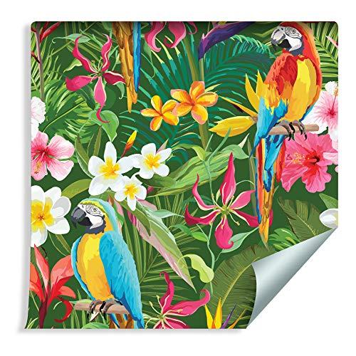 Muralo Tapete Papageien, Tropische Blätter und Blumen Vlies Natur dekorativ Pflanzenwelt - 165286971