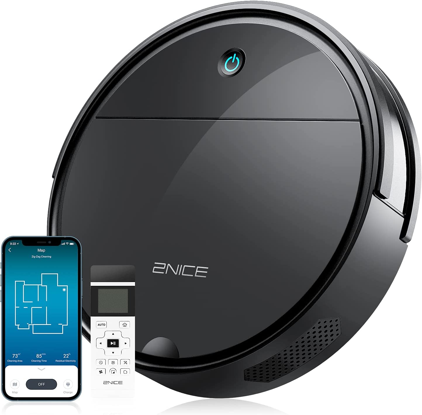 2NICE Robot Vacuum Credence Excellent Cleaner Good for Hair Pet WiFi Remote Alexa