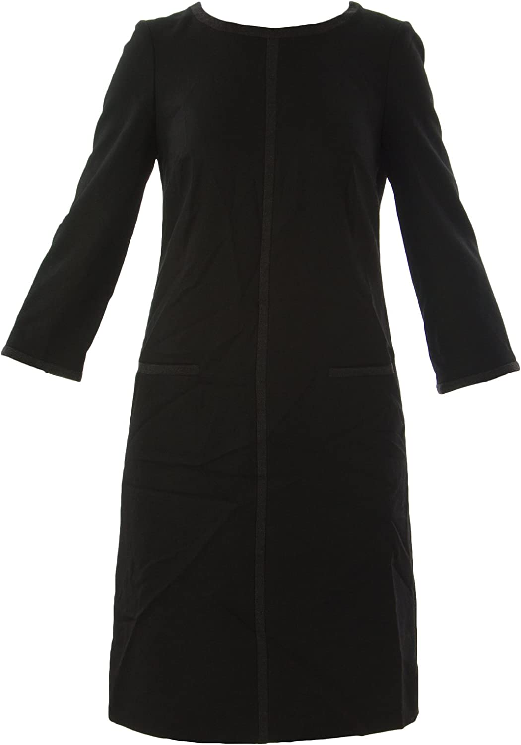 BODEN Women's Tipped Wool Shift Dress US Sz 2R Black