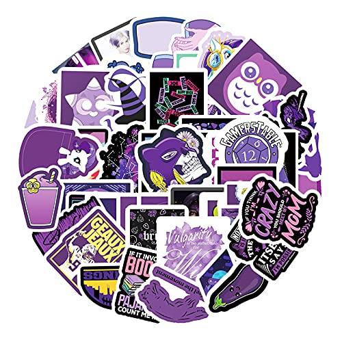 WYZNB Púrpura ins viento pequeño fresco graffiti pegatinas equipaje tableta refrigerador coche impermeable pegatinas 55pcs