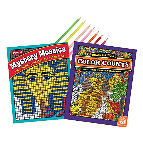 MindWare World Adventures Coloring Book Set of 2 with 18 Colored Pencils