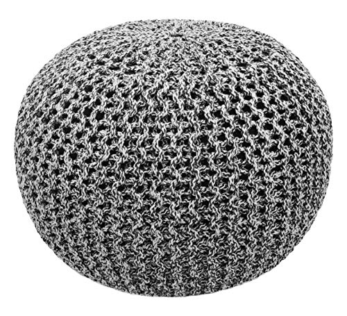 COTTON CRAFT - Hand Knitted Cable Style Tweed Dori Pouf - Charcoal-Black - Floor...