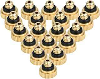 Yardwe 32PCS Misting Nozzles Brass Lead Free Misting Nozzles for Outdoor Cooling System 0.3mm Orifice