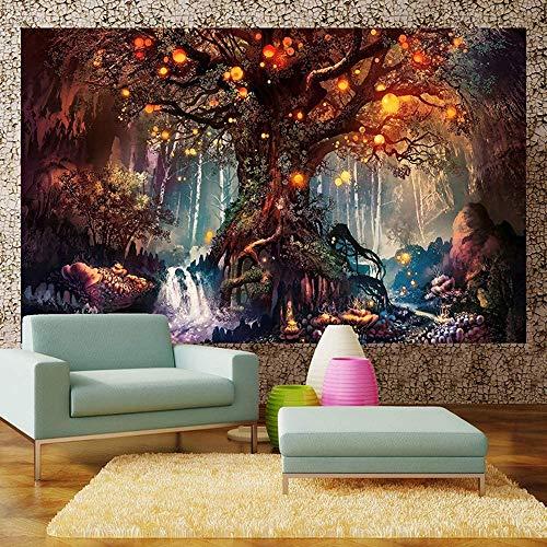 ZQ Tapisserie Wandteppich Mond und Sonne Psychedelische Wandbehang Mandala Bohemien Hippie Tarot Wandtuch Tapestry Indisch (03,150x200cm)