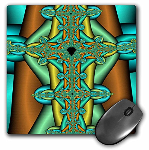 Blue and Gold Tone Abstract Fractal Celtic Cross Digital Art - Mouse Pad, 8 by 8 inches (mp_118498_1)