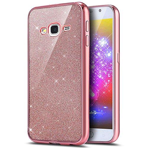 Ukayfe Custodia Cover Samsung Galaxy J5 2015 Silicone, Ultra Slim Custodia Cover Resistenti per Galaxy J5 2015,Confine di Placcatura Disegni Trasparente Casa Sottile Morbida-Oro Rosa