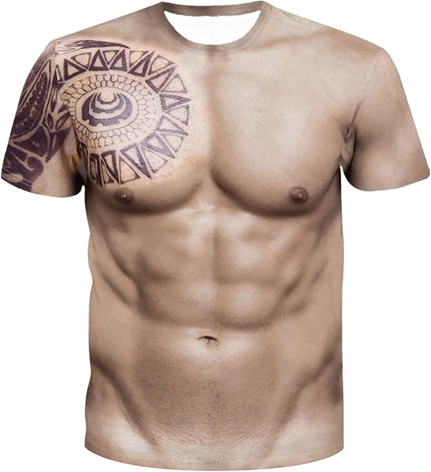 Men's Solid Color Casual Collarless Crewneck Short-sleeve T-shirt 3D Funny Pattern Printed T-Shirt Tops
