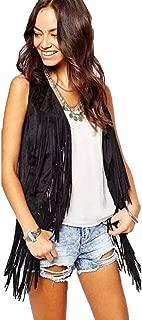 Women Faux Suede Leather Cowboy Style Vest Sleeveless Tassels Cardigan Waistcoat