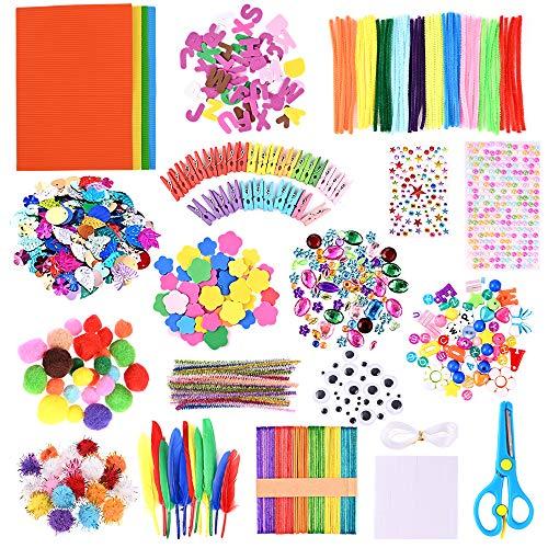 GOLDGE 700 Pezzi Kit per Lavoretti Creativi, Set Bricolage, Craft Kit per Hobby Creativi per Bambini, Diversi Materiali, Multicolore