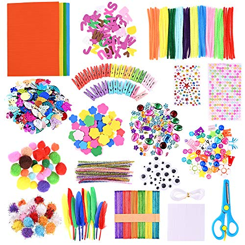 GOLDGE 700 Pezzi Kit per Lavoretti Creativi, Set Bricolage, Craft Kit per Hobby Creativi per Bambini, Diversi Materiali, Multicolore