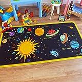 The Good Rug Company Superb Kids/Kinder Teppich Solar System Educational Krabbeldecke ca. 100cm x 200cm (3'3x 6' 6)