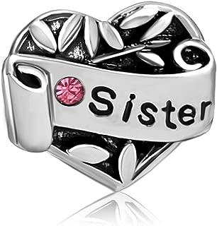 Sister Heart Love Jan-Den Birthstone Charms Beads for Bracelets