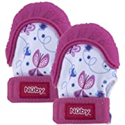 Nuby Soothing Teething Mitten with Hygienic Travel Bag, Pink, 2 Count