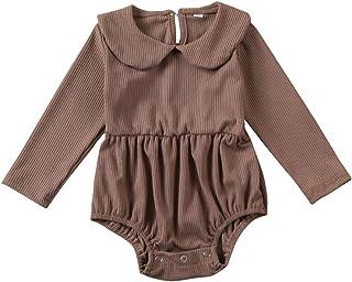 الوليد طفلة بوي بيتر بان كالار بذلة الزي محبوك ارتداءها الرضع الصلبة رومبير الملابس (Color : Coffee, Kid Size : 12M)