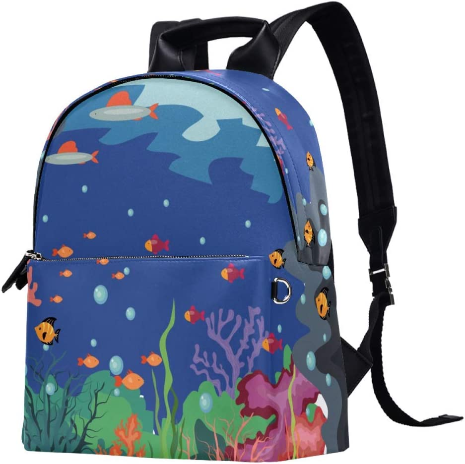 Underwater Life Colorful Fish Backpack Casual Daypack College School Computer Bookbag Travel Bag