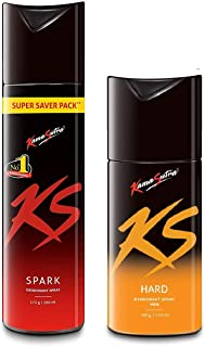 KamaSutra 1 Big (260 ml) & 1 Small (150 ml) Deodorant For Men- Pack of Two (Spark260-Hard)