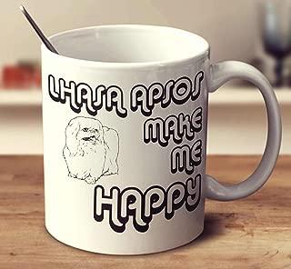 Lhasa Apsos Make Me Happy 2 Coffee Mug (White, 11 oz)