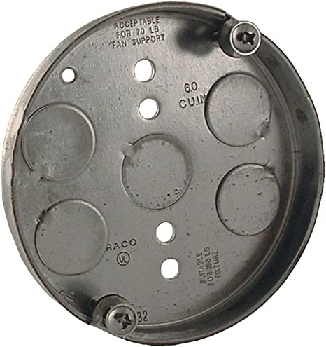 Hubbell-Raco 295 1//2-Inch Deep 1//2-Inch Bottom Knockouts 4-Inch Round Ceiling Fan Support Pan