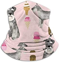 Schnauzer Ice Cream Dog Pure Pink Unisex Winter Fleece Neck Warmer Gaiters Hairband Cold Weather Tube Face Mask Thermal Neck Scarf Outdoor UV Protection Party Cover
