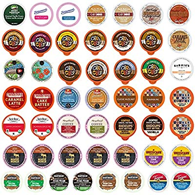Flavored Coffee Pods Variety Pack - Single Serve Cups for All Keurig K Cups Coffee Makers - Premium Selection, 50 Count