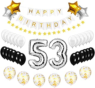 Best Happy to 53rd Birthday Balloons Set - High Quality Birthday Theme Decorations for 53 Years Old Party Supplies Silver Black Gold