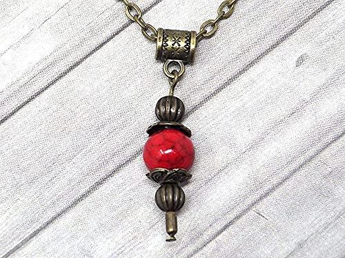 Collar con colgante de estilo vintage para mujer en turquesa rojo reconstituido montado sobre una cadena de bronce antiguo