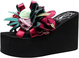 THE LONDON STORE Women's Multi-Color Summer EVA Wedge Thick Soled Heels Slippers Flower Flip Flops Ladies Platform Sandals