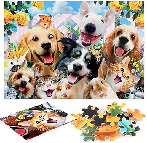 WESEN 1000 Pieces Cartoon Jigsaw Puzzle for Adults Kids Dog 1000 Piece Puzzle Kid Game Pet Dog product image