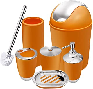 6 Piece Bathroom Accessories Set,Plastic Bath Ensemble Bath Set Lotion Bottles, Toothbrush Holder, Tooth Mug, Soap Dish, Toilet Brush, Trash Can (orange)