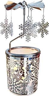 Kingnero Snowflake Rotary Tea Light شمعة حامل دوار الشموع والديكور الداخلي فضي معدن الشاي ضوء