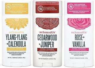 Schmidt's Ylang Ylang + Calendula, Cedarwood + Juniper & Rose + Vanilla Aluminum Free Natural Deodorant 3.25 oz each