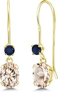 0.98 Ct Oval Peach Morganite Blue Sapphire 14K Yellow Gold Earrings
