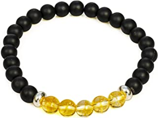 Divine Magic Citrine Yellow Gold Beads 8mm and Black Obsidian Real Chakra Healing Crystal Gemstone Bracelet Jewelry Wide S...