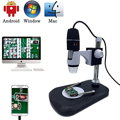 USB microscopio Digital cámara, Jiusion 40 - 1000X Portátil lupa del endoscopio 8 LED con adaptador profesional soporte, compatible con Mac Windows XP 7 8 10 OTG Android Linux