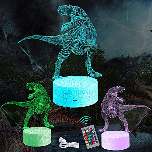 Manfore Dinosaurier Nachtlicht, Dinosauriergeschenke T-Rex Dinosaurier 3D Nachtlicht Nachttischlampe Deko Licht, mit Fernbedienung und 16 Farbwechsel und Dimmbaren Funktionen für Kinder Jungen Mädchen
