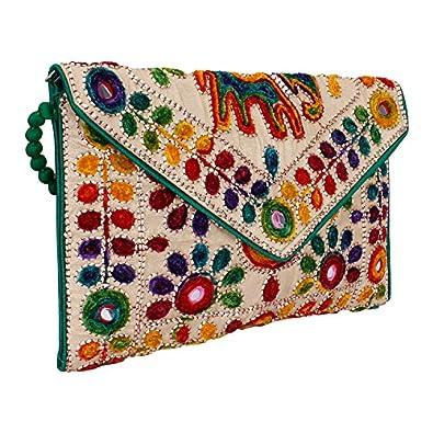 MAATANGI Women's Sling Bag (Green & Golden)
