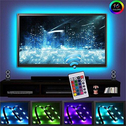 Onesight LED Streifen, 2M LED Strips TV Hintergrundbeleuchtung RGB USB LED Streifen mit Fernbedienung, 16 Farbwechsel, 4 Modi, Verstellbare Helligkeiten für Haus, Party [Energieklasse A+]