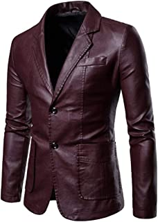 Sayah Mens Notch Lapel Turn-Down Collar Fitted Casual Leather Trench Coat