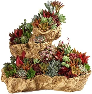 QIANZICAI Creative Simulation Tree Root Flower Pot, Home Desktop Resin Fleshy Flower Pot, Desk Decoration Lightweight And Rugged Cold (Color : Khaki)