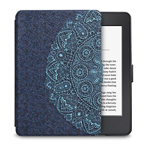 WALNEW Kindle Paperwhite Hülle,Leichteste und Dünnste Schutzhülle Tasche für Kindle Paperwhite mit Automatischer Aufwach/Ruhe-Funktion-Nicht geeignet für Modelle der 10. Generation (2018),Blaue Blume