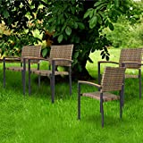KARMAS PRODUCT 4 Pack Outdoor Patio All Weather PE Wicker Dining Chairs with Aluminum Allo...