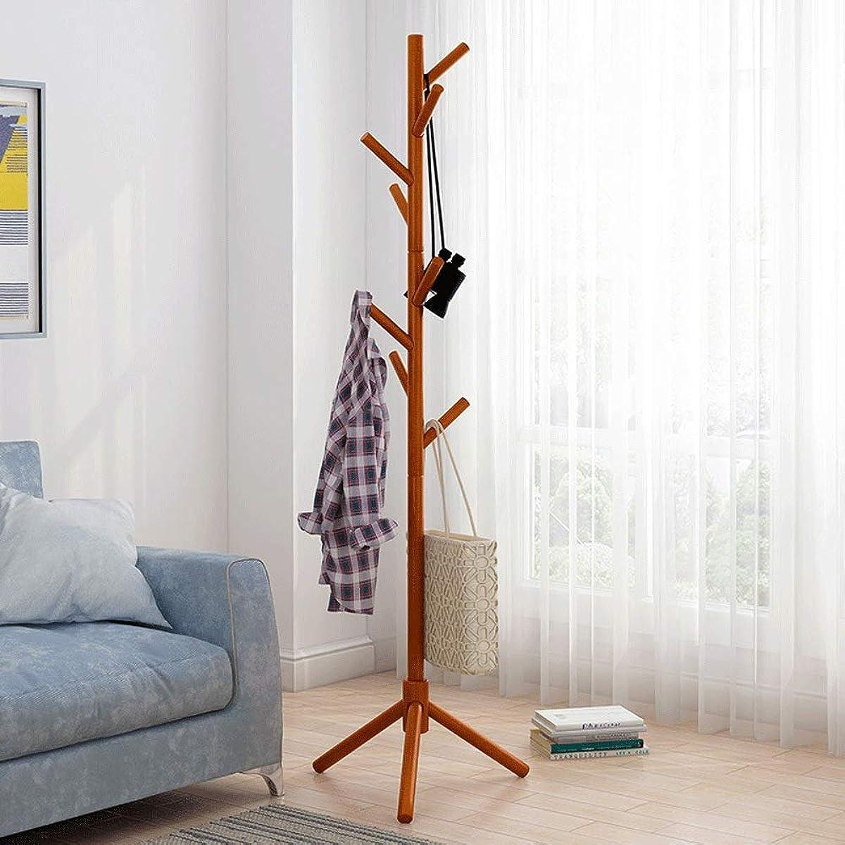 ロッドシーフード強調するポールハンガー 室内物干しハンガーラック 無料立ち木製コートラックスタンド出入口ホールツリーコートツリー用帽子服財布スカーフハンドバッグ傘 (Color : Honey, Size : 43×175cm)